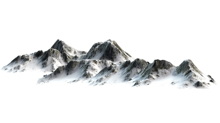 Snowy Mountains - Mountain Peak - separated on white white background
