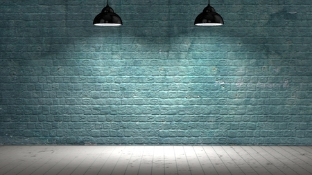Photo pour brickwall illuminated with spot lights and wood floor - image libre de droit