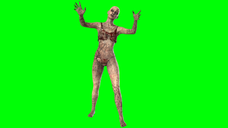 zombie woman seperated on greenscreen