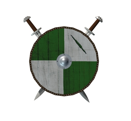 old viking shield with two swords - isolated on white