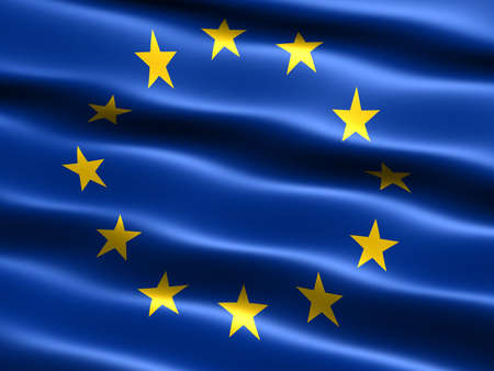 Flag of the European Union with silky appearance and waves