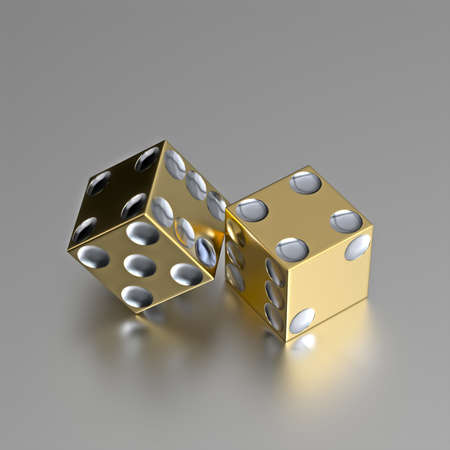 Render of two right handed golden casino dice with silver eyes. Layout is accurate and razor border of these golden dice is also casino style with realistic materials on a slightly reflective metallic surface.