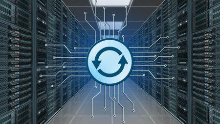 Photo pour Update logo between information connecting lines - image libre de droit
