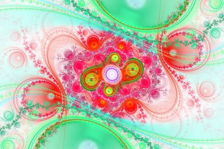 Photo for White and colorful wallpaper cover background Geometric fractal shape can illustrate daydreaming imagination psychedelic space dreams magic nuclear explosion frequency patterns radiation concepts. - Royalty Free Image