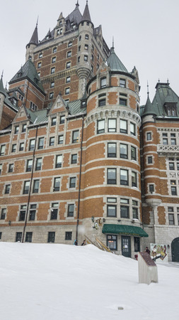Fairmont Le Chateau Frontenac snow external view of the iconic grand hotel inside the walls of Old Quebec.