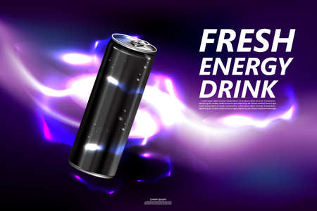 Illustration pour Fresh energy drink in can with purple background, Package and  Energy drink product poster - image libre de droit