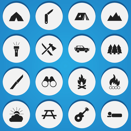 Set Of 16 Editable Travel Icons. Includes Symbols Such As Desk, Peak, Fever And More. Can Be Used For Web, Mobile, UI And Infographic Design.