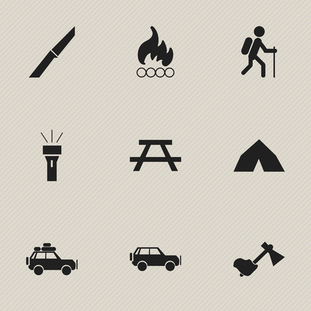 Set Of 9 Editable Travel Icons. Includes Symbols Such As Lantern, Sport Vehicle, Tepee And More. Can Be Used For Web, Mobile, UI And Infographic Design.