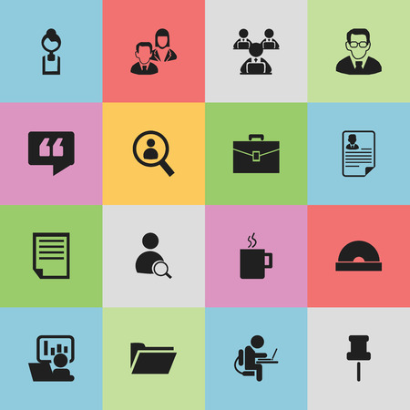 Set Of 16 Editable Office Icons. Includes Symbols Such As Publicity, Comment, Compact Disk And More. Can Be Used For Web, Mobile, UI And Infographic Design.