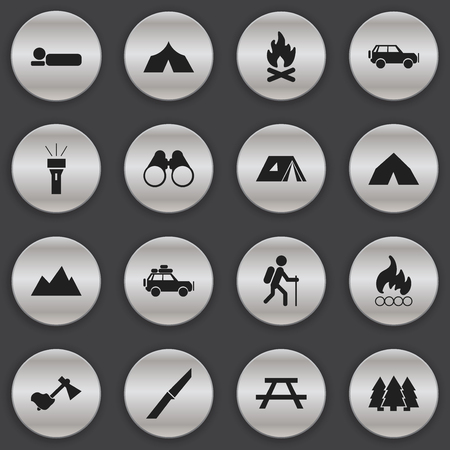 Set Of 16 Editable Travel Icons. Includes Symbols Such As Desk, Shelter, Sport Vehicle And More. Can Be Used For Web, Mobile, UI And Infographic Design.