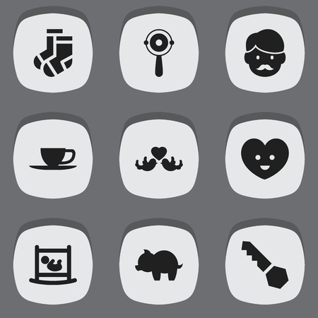 Set Of 9 Editable Family Icons. Includes Symbols Such As Tea, Rattle, Lock And More. Can Be Used For Web, Mobile, UI And Infographic Design.