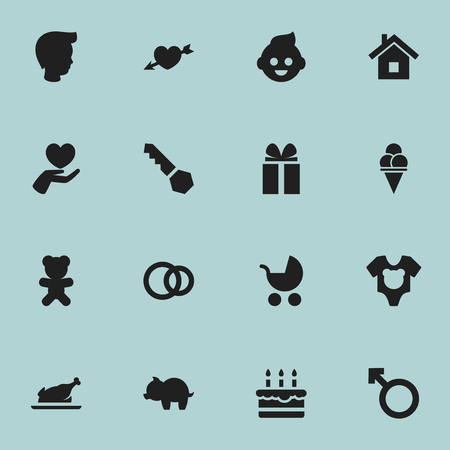 Set Of 16 Editable Relatives Icons. Includes Symbols Such As Baby, Lock, Hoop And More. Can Be Used For Web, Mobile, UI And Infographic Design.