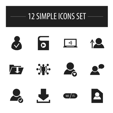 Set Of 12 Editable Web Icons. Includes Symbols Such As Monitor, Skill, Song List And More. Can Be Used For Web, Mobile, UI And Infographic Design.