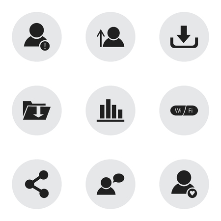 Set Of 9 Editable Global Icons. Includes Symbols Such As Avatar, Download, Wifi And More. Can Be Used For Web, Mobile, UI And Infographic Design.