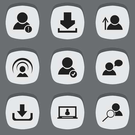 Set Of 9 Editable Internet Icons. Includes Symbols Such As Connection, Account, Log In And More. Can Be Used For Web, Mobile, UI And Infographic Design.