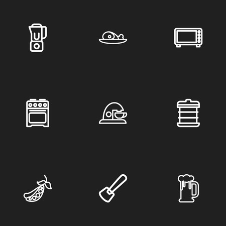 Set Of 9 Editable Cooking Outline Icons. Includes Symbols Such As Peas, Microwave, Mixer And More