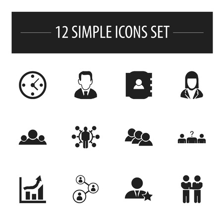 Set Of 12 Editable Business Icons. Includes Symbols Such As Team, Staff, Businessman And More