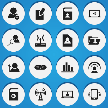 Set Of 16 Editable Web Icons. Includes Symbols Such As Avatar, Delete Member, Edit File And More