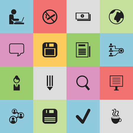 Set Of 16 Editable Office Icons. Includes Symbols Such As Worker In Laptop, Unity, Staff And More. Can Be Used For Web, Mobile, UI And Infographic Design.