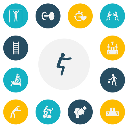 Set Of 13 Editable Healthy Icons. Includes Symbols Such As Competition, Platform For Winner, Health Time And More. Can Be Used For Web, Mobile, UI And Infographic Design.