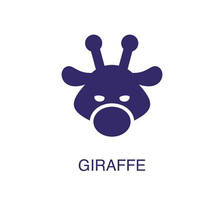 Photo pour Giraffe element in flat simple style on white background. Giraffe icon, with text name concept template - image libre de droit