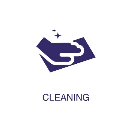 Cleaning element in flat simple style on white background. Cleaning icon, with text name concept template