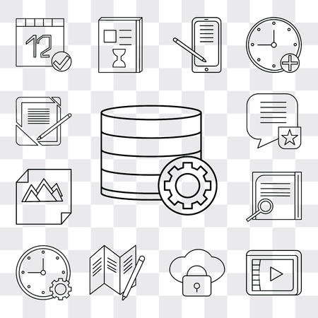 Set Of 13 simple editable icons such as Database, Video