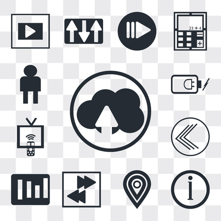 Set Of 13 simple editable icons such as Cloud upload, Information button, Map pointer, Arrow pointing right, Rounded Corners square, Go back Tv remote, Battery power, web ui icon pack