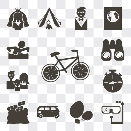 Set Of 13 simple editable icons such as Cyclist, Diving