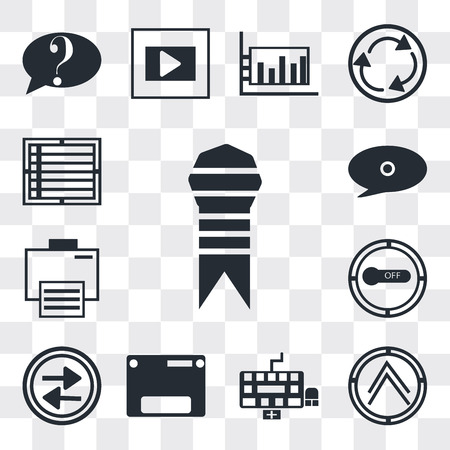 Set Of 13 simple editable icons such as Ribbon from a book, Pointing up arrow, Keyboard, Web page variant, Press play button, Button on off, Electronic print machine, web ui icon pack