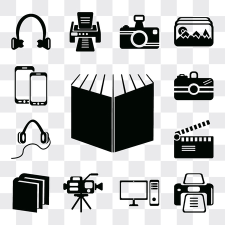 Set Of 13 simple editable icons such as Open book black