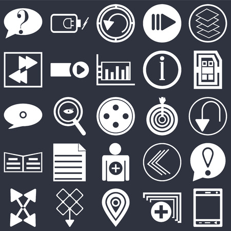 Set Of 25 simple editable icons such as Smartphone, Undo Arrow, Sim card, Battery power, Export Start button, Go back Speech bubble black on background, web UI icon pack