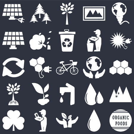 Set Of 25 simple editable icons such as Energy globe, Drop, Ecological energy source, Global Awareness, Leaves, Snowy mountains, Bio energy, web UI icon pack, pixel perfect