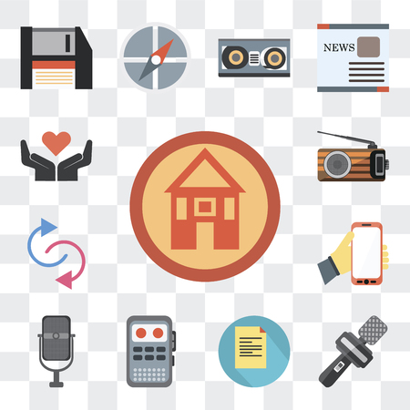Set Of 13 simple editable icons such as Domestic, News