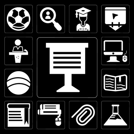 Ilustración de Set Of 13 simple editable icons such as Teacher giving lecture, Erlenmeyer flask, Paper clip, Book and computer mouse, with bookmark, Open book, Basketball on black background - Imagen libre de derechos