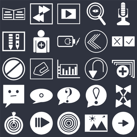 Set Of 25 simple editable icons such as Play button, Medic folder, Cross, Arrow pointing right, Target, Add, Exclamation mark, Prohibition Circle on black background, web UI icon pack