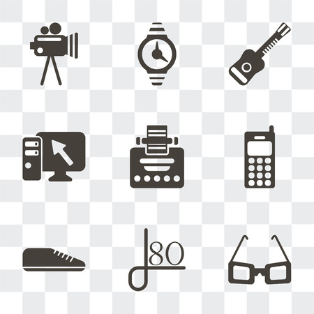 Set Of 9 simple transparency icons such as Sunglasses, Style
