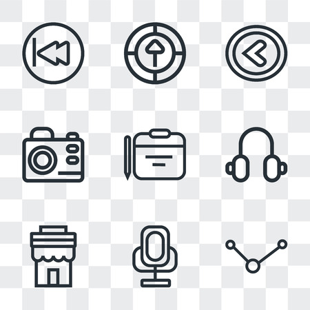 Set Of 9 simple transparency icons such as Share, Voice