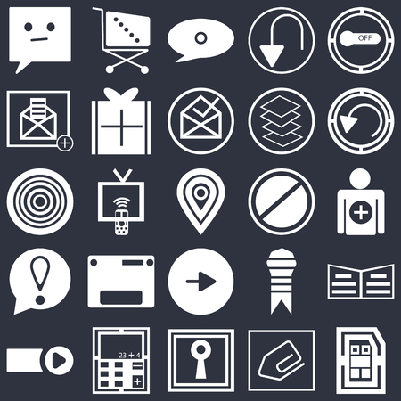 Set Of 25 simple editable icons such as Button on off, Clip, Rotate circle, Calculator, Start button, Reading book, Tv remote, web UI icon pack, pixel perfect