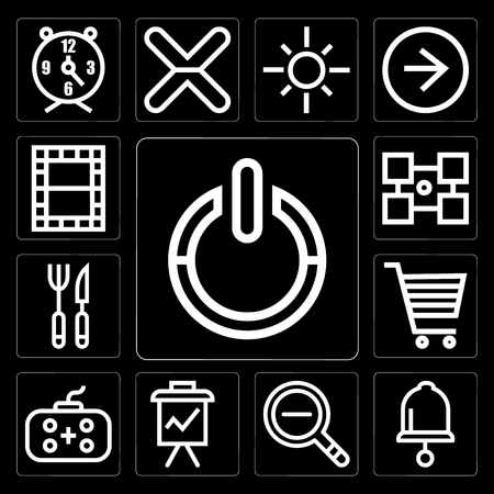 Set Of 13 simple editable icons such as Power, Bell, Zoom out, Presentation, Gamepad, Shopping cart, Cutlery, Layout, Video on black background
