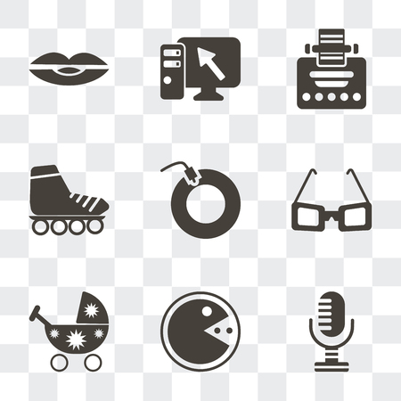 Set Of 9 simple transparency icons such as Microphone, Pacman