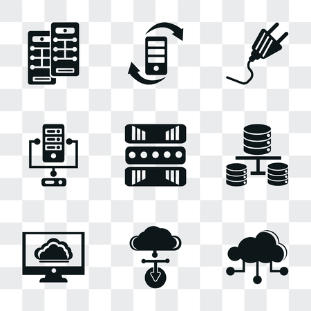 Set Of 9 simple transparency icons such as Cloud, Cloud computing, Database, Server, Plug, Transfer, can be used for mobile, pixel perfect vector icon pack on