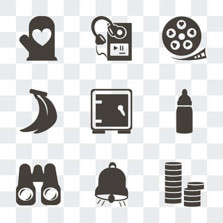 Set Of 9 simple transparency icons such as Stacks of coins, Big bell, Pair binoculars, Baby Bottle, Safe box, Bananas, Film strip with heart, MP3 player headphones, Cooking mitts, can be used