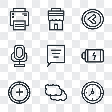 Set Of 9 simple transparency icons such as Clock, Cloud, Add, Battery, Speech bubble, Voice recorder, Left arrow, Store, Printer, can be used for mobile, pixel perfect vector icon pack on transparent