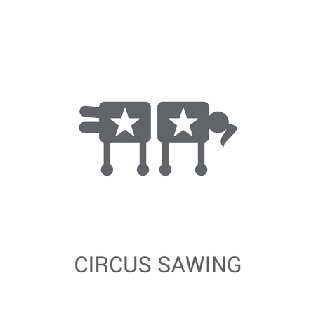 Circus Sawing icon. Trendy Circus Sawing logo concept on white background from Circus collection. Suitable for use on web apps, mobile apps and print media.