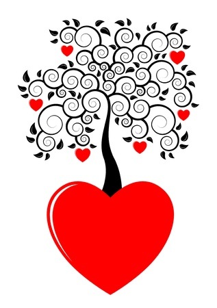heart tree growing from heart on white backgroundのイラスト素材