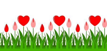 seamless heart flowers border
