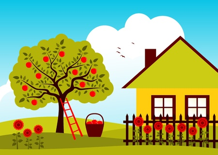 apple tree and cottage with picket fenceのイラスト素材