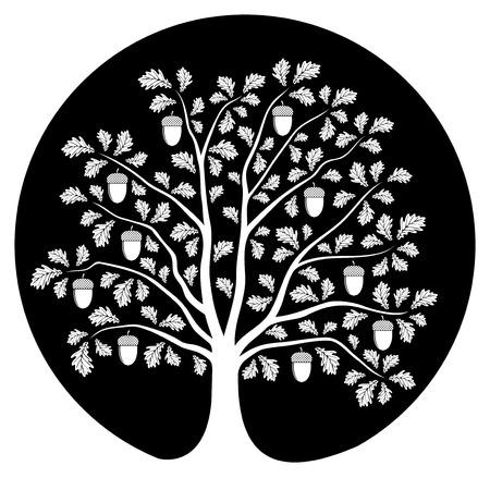 Illustration pour oak tree isolated on black round - image libre de droit