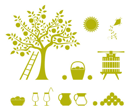 collection of vector apple harvest icons isolated on white background